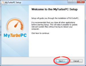 "Click ""Next"" to begin the MyTurboPC setup process."