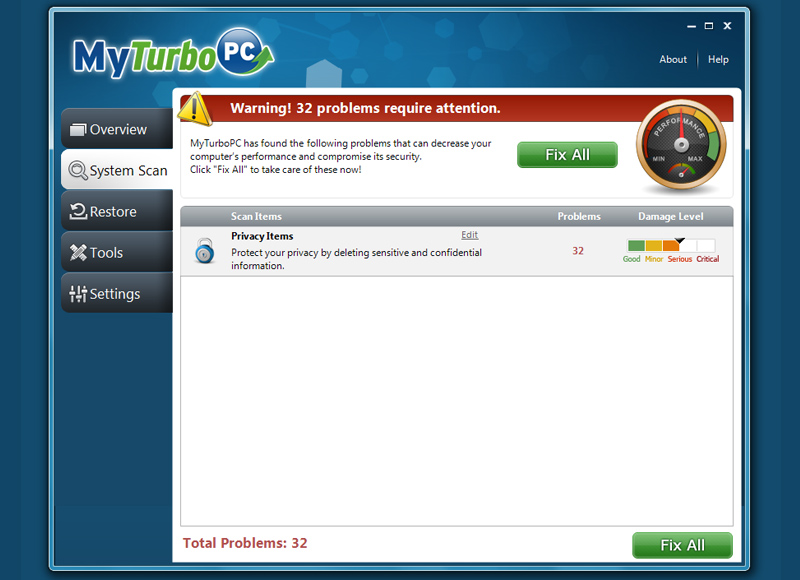MyTurboPC privacy result shot