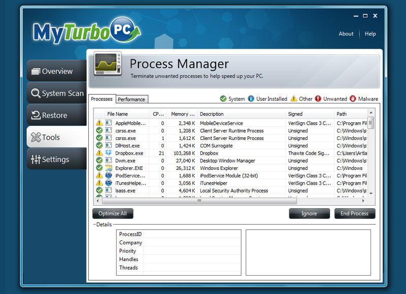 MyTurboPC process manager shot