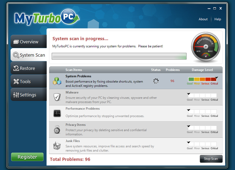 MyTurboPC scan progress shot